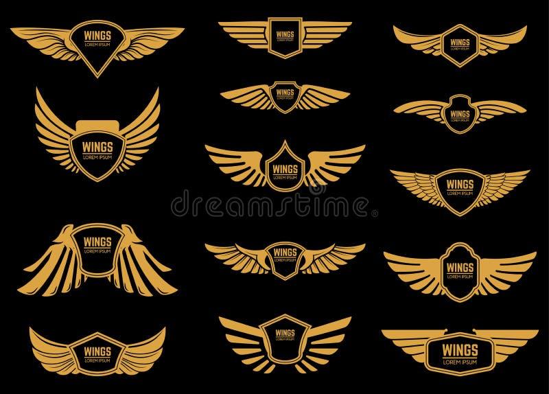 Uppsättning av vingsymboler i guld- stil Planlägg beståndsdelar för logoen, etiketten, emblemet, tecken royaltyfri illustrationer