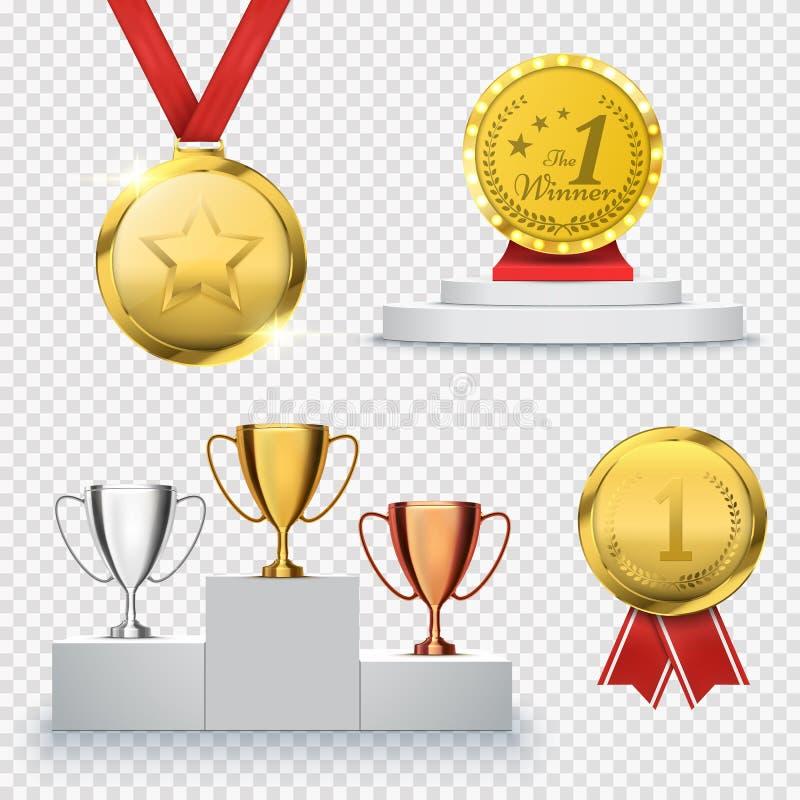 Uppsättning av vinnaretrofén Bända mall Medalj och podium vektor royaltyfri illustrationer
