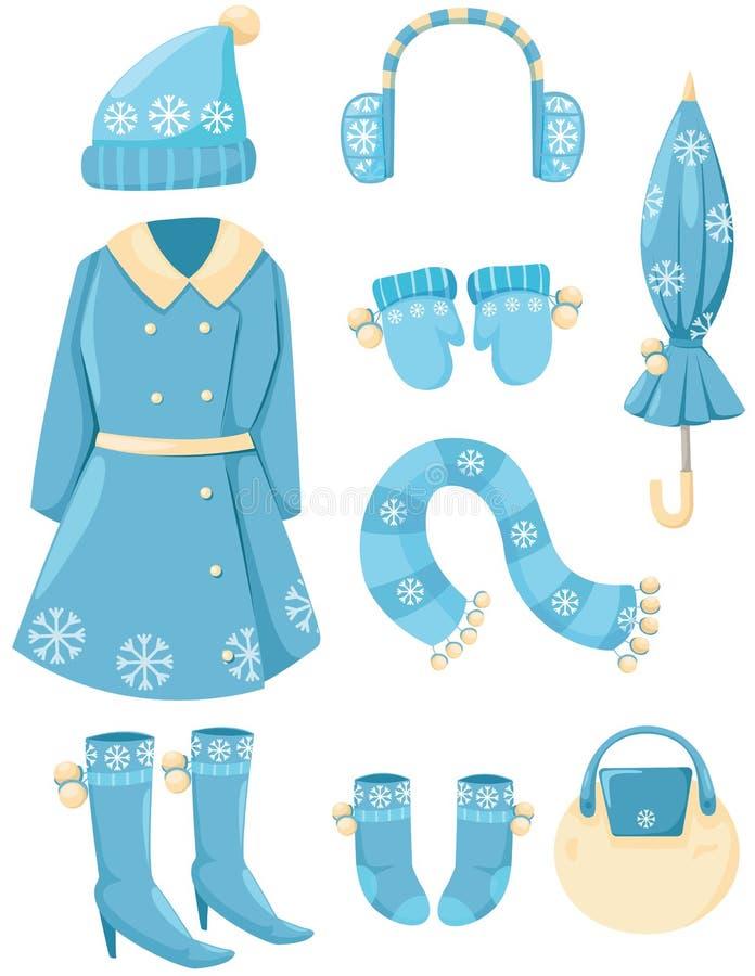 Uppsättning av vinterkläder royaltyfri illustrationer