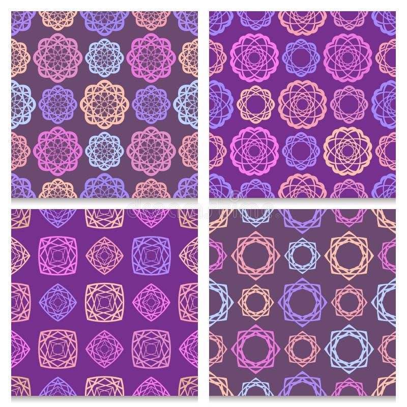 Uppsättning av violetta fyra och bruna sömlösa modeller vektor illustrationer