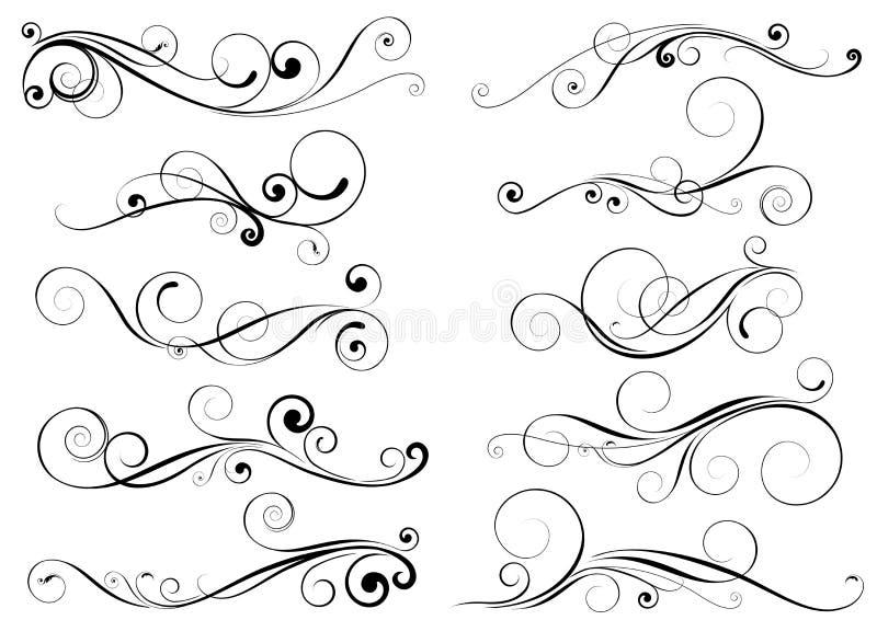 Uppsättning av virveldesignbeståndsdelar vektor illustrationer