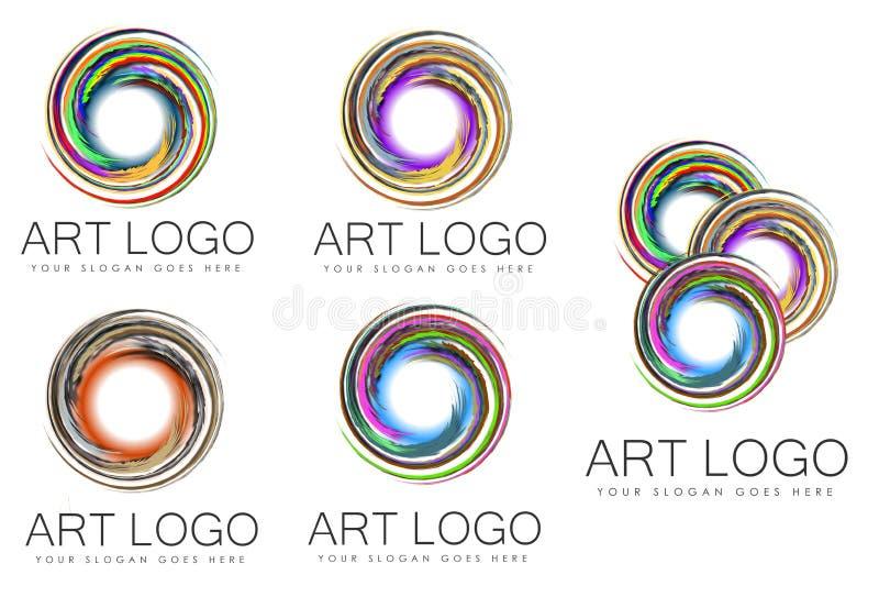 Uppsättning av virveln Art Logo Designs stock illustrationer