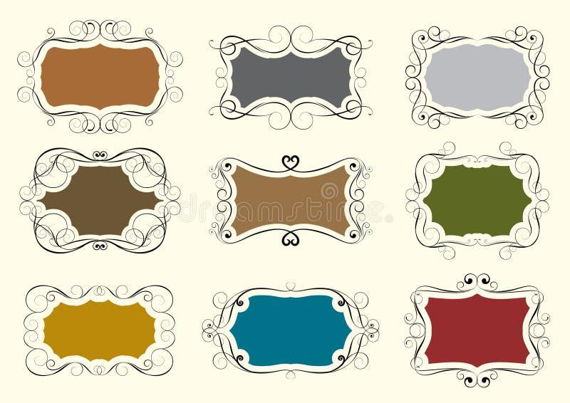 Uppsättning av virvelramen stock illustrationer