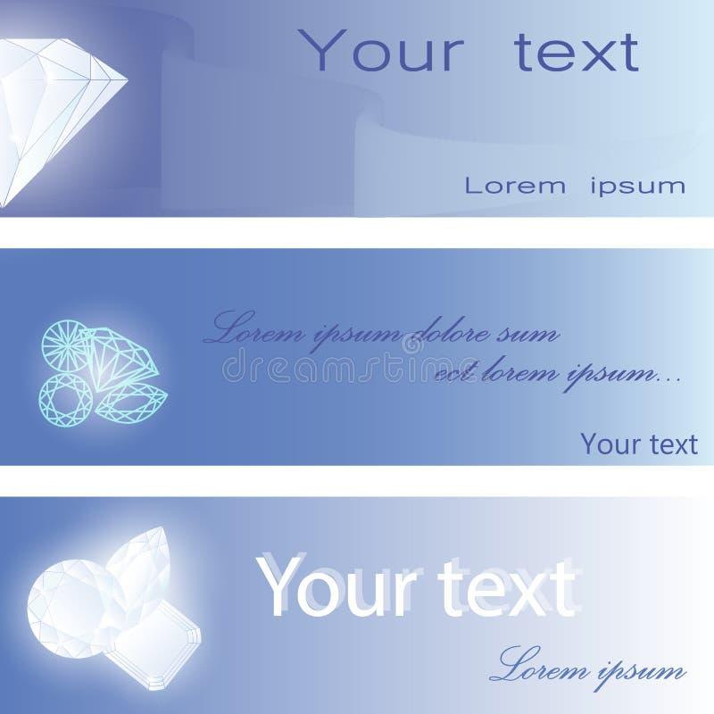 Uppsättning av visitkortar med diamanter vektor illustrationer