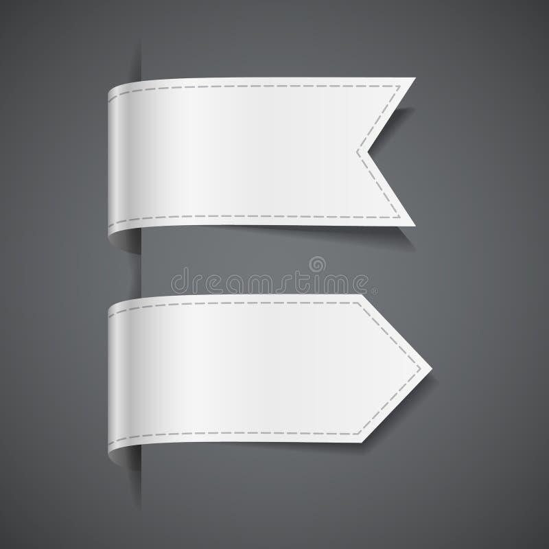 Uppsättning av vita dekorativa band stock illustrationer