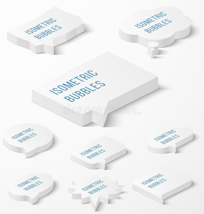 Uppsättning av vita isometriska bubblor med droppskugga stock illustrationer