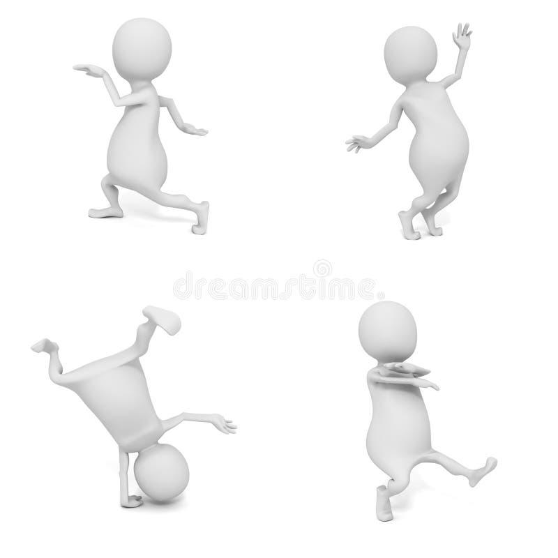 Uppsättning av vita män 3d för olik dans royaltyfri illustrationer