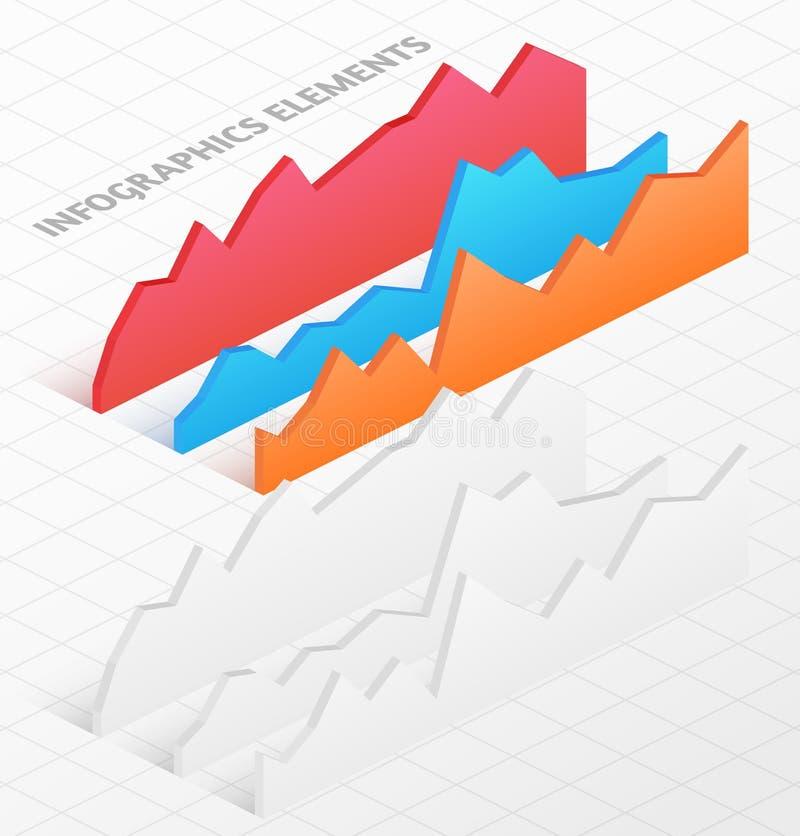 Uppsättning av vita och färgrika isometriska grafer vektor illustrationer