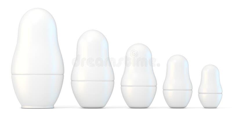 Uppsättning av vita omålade matryoshkadockor 3d royaltyfri illustrationer