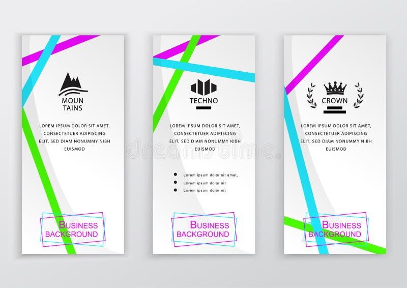 Uppsättning av vita vertikala baner för affär med färgrika tunna band för brigh abstrakt bakgrundsvektor Ren design för royaltyfri illustrationer