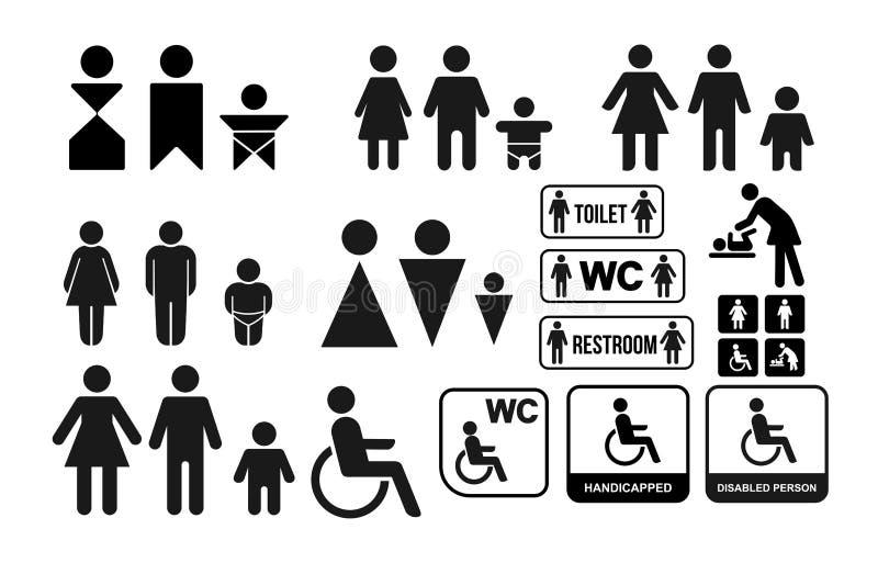 Uppsättning av WC-tecknet för toalett Symboler för toalettdörrplatta Man- och kvinnasymboler också vektor för coreldrawillustrati stock illustrationer