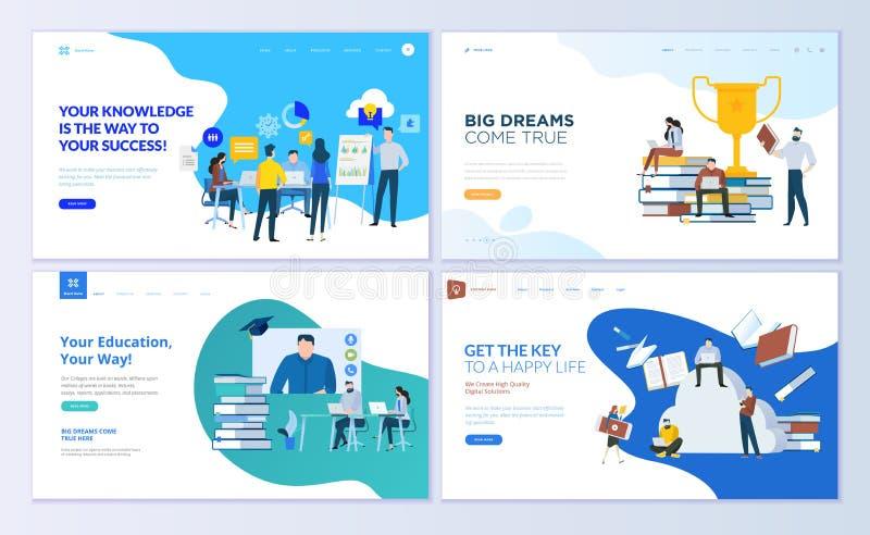Uppsättning av webbsidadesignmallar för personalutbildning som konsulterar, högskola, utbildning app stock illustrationer