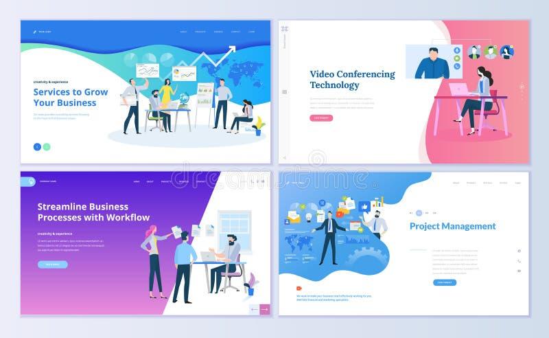 Uppsättning av webbsidadesignmallar för projektledning, affärskommunikation, workflow och att konsultera royaltyfri illustrationer