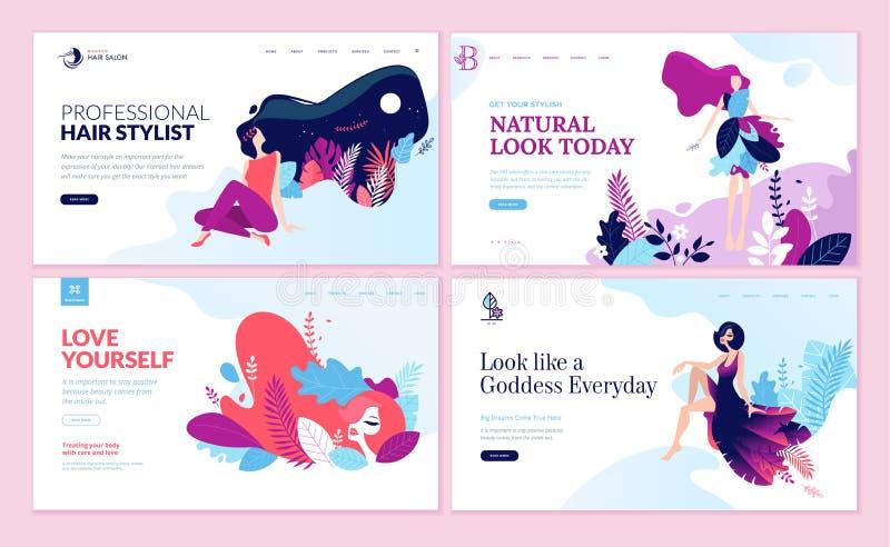 Uppsättning av webbsidadesignmallar för skönhet, brunnsort, wellness, naturprodukter, skönhetsmedel, kroppomsorg, sunt liv vektor illustrationer