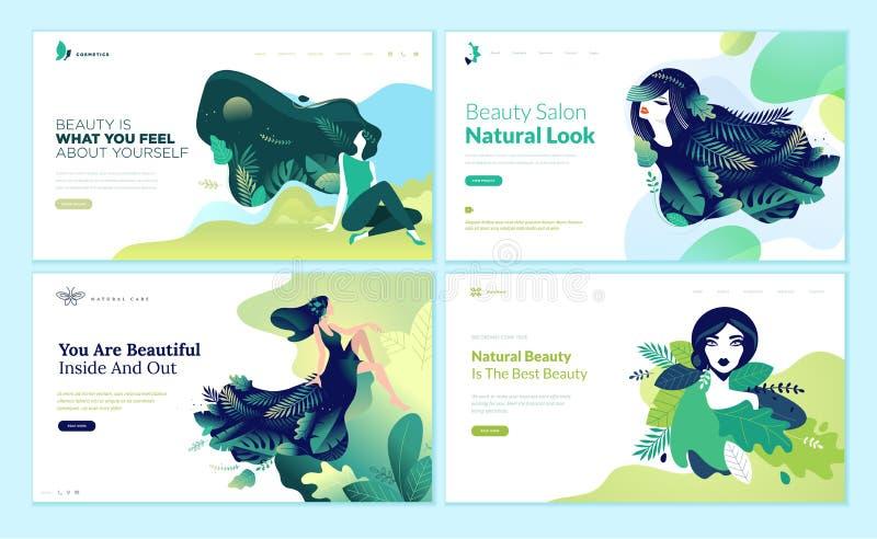 Uppsättning av webbsidadesignmallar för skönhet, brunnsort, wellness, naturprodukter, skönhetsmedel, kroppomsorg, sunt liv stock illustrationer