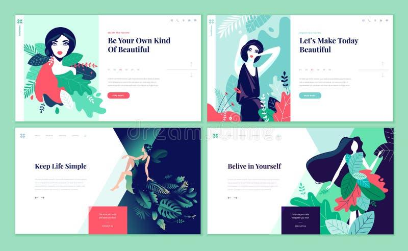 Uppsättning av webbsidadesignmallar för skönhet, brunnsort, wellness, naturprodukter, skönhetsmedel, kroppomsorg, sunt liv royaltyfri illustrationer