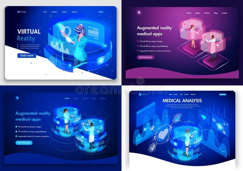 Uppsättning av Websitemallar och att landa sidan för affär och medicin, virtuell verklighet, medicinska teknologier, alternativ v royaltyfri illustrationer