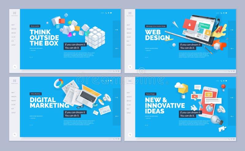 Uppsättning av websitemalldesigner stock illustrationer