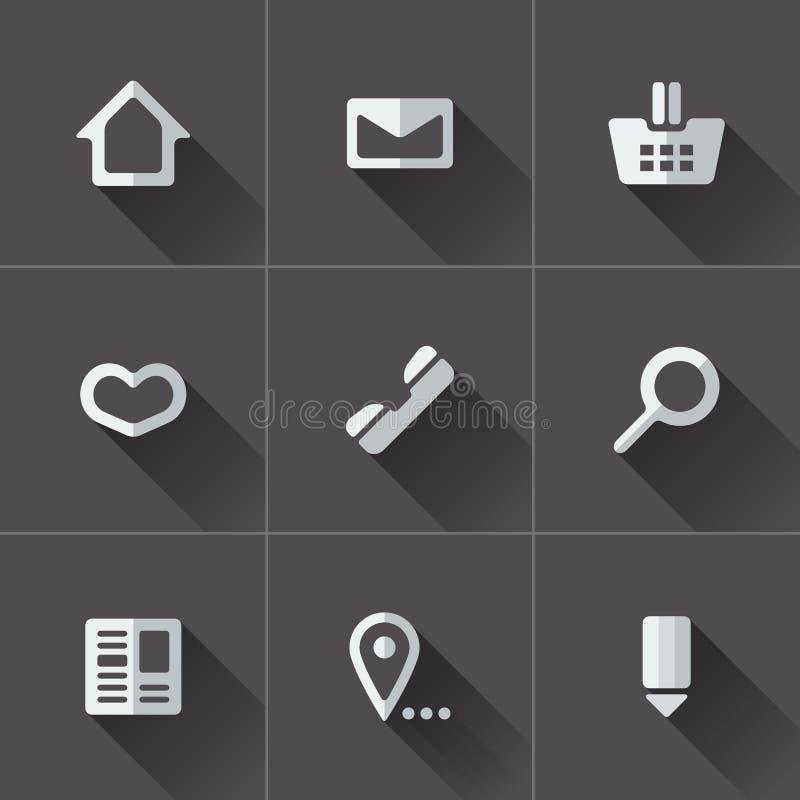 Uppsättning av websitemenysymboler Plan design vektor illustrationer