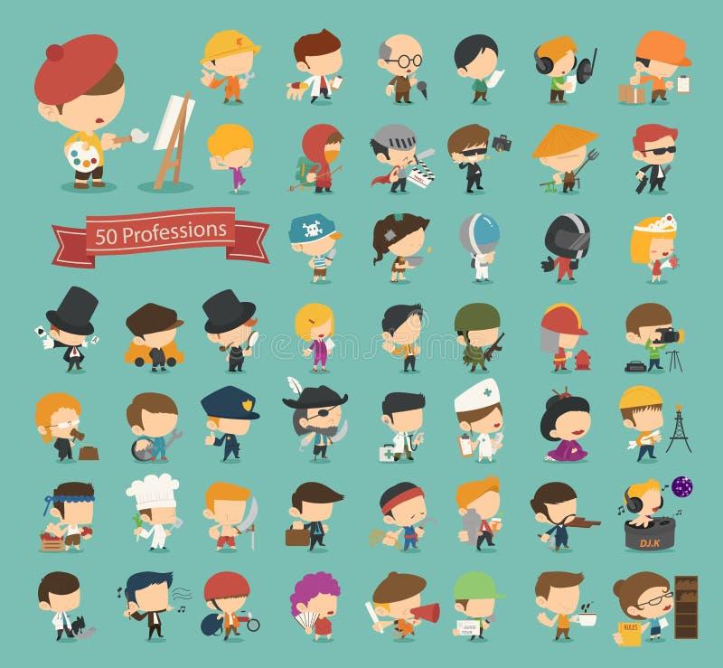 Uppsättning av 50 yrken stock illustrationer