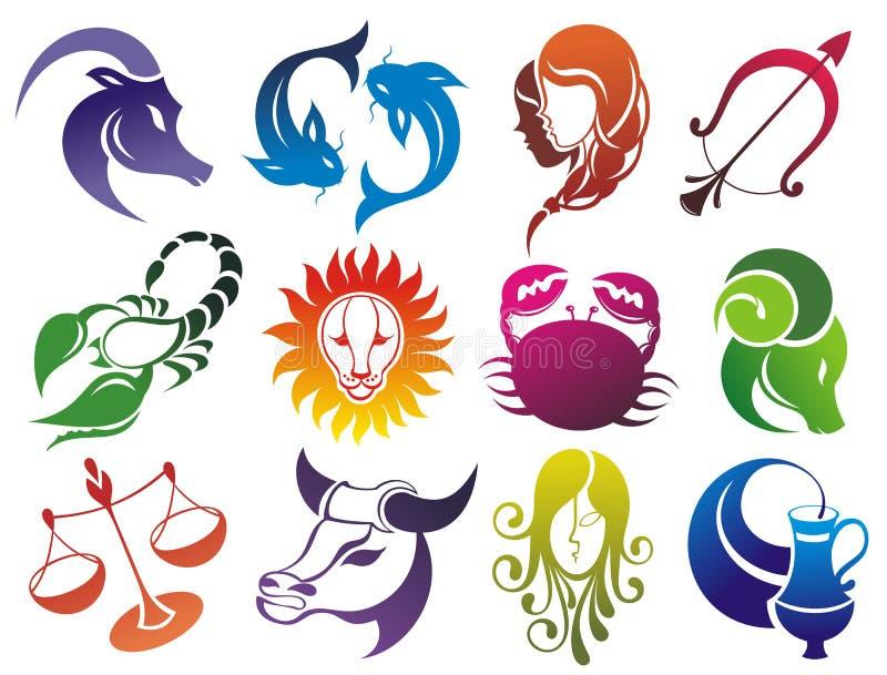 Uppsättning av zodiaksymboler royaltyfri illustrationer