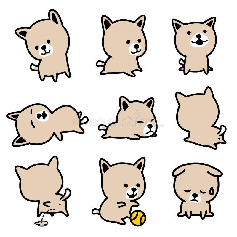 Uppsättning B för brunt för illustrationer för vektor för valp för fransk bulldogg för hundavel vektor illustrationer