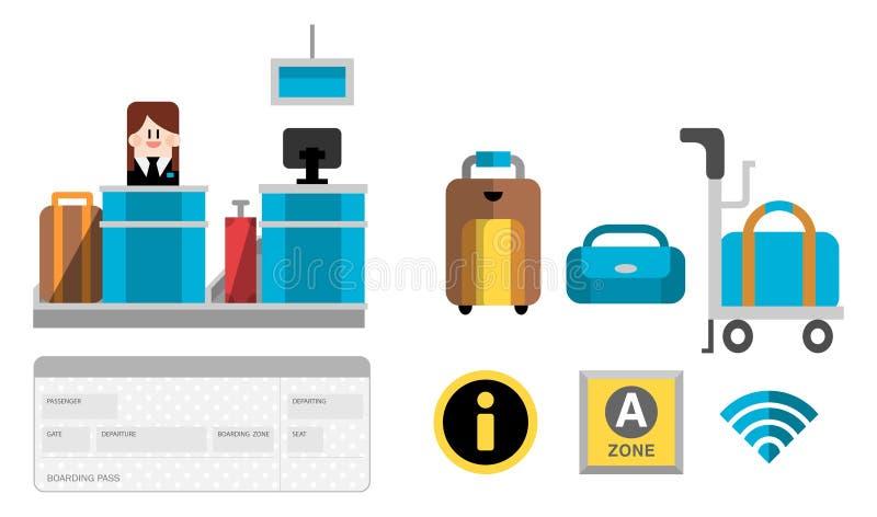Uppsättning B för service för flygplatsterminal vektor illustrationer