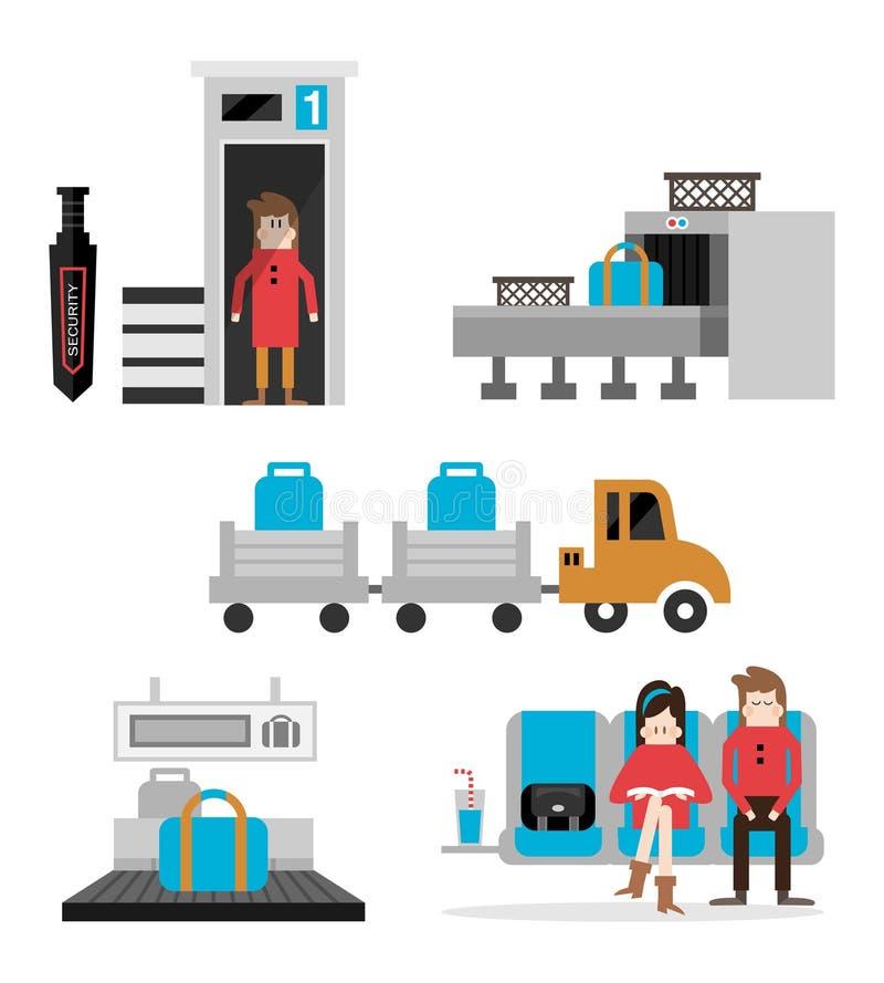 Uppsättning B för service för flygplatsterminal stock illustrationer