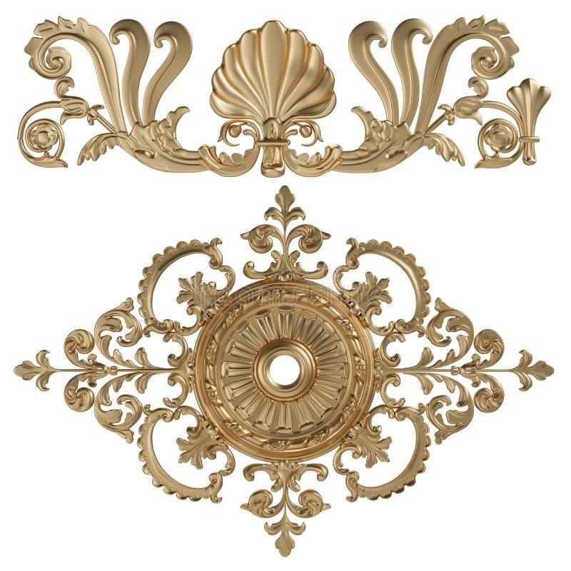uppsättning 3d av en forntida guld- prydnad på en vit bakgrund vektor illustrationer