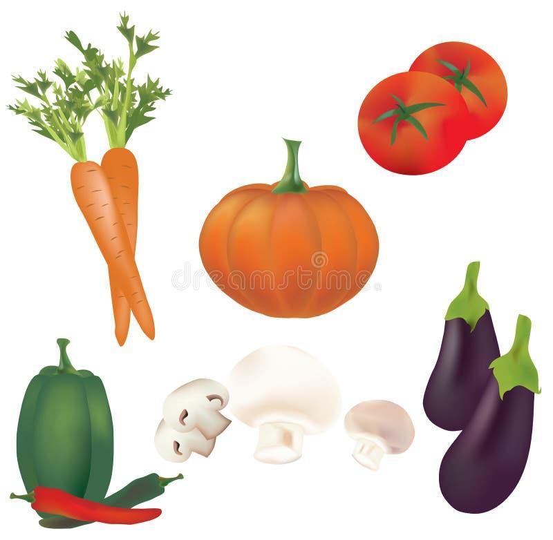 uppsättning 3D av vektorgrönsaker. Illustrationsamling av tomater, peppar, pumpa, champinjoner, morot royaltyfri illustrationer