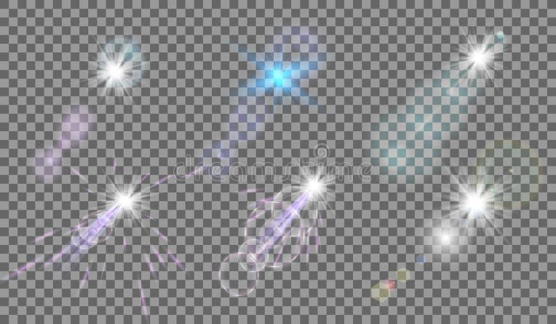 Uppsättning Den glänsande stjärnan, solpartiklarna och gnistor med en viktigeffekt, guld- bokehljus blänker och paljetter På en m stock illustrationer