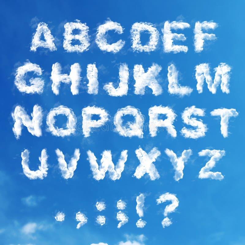 Uppsättning - det engelska alfabetet från moln royaltyfria foton