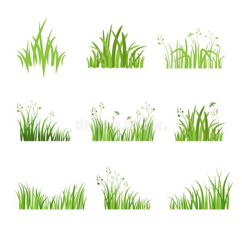 Uppsättning Eco för grönt gräs vektor illustrationer