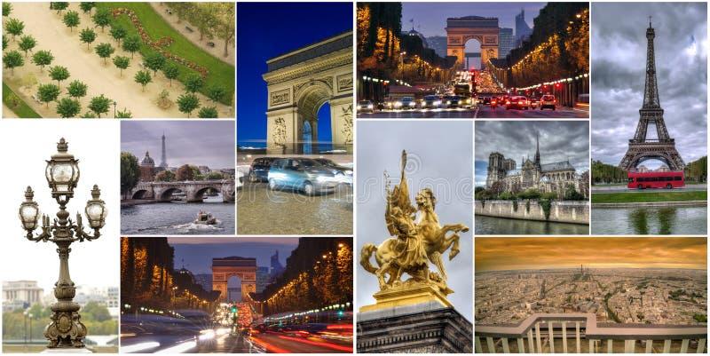 Uppsättning eller collage av Paris stadsbilder royaltyfria foton