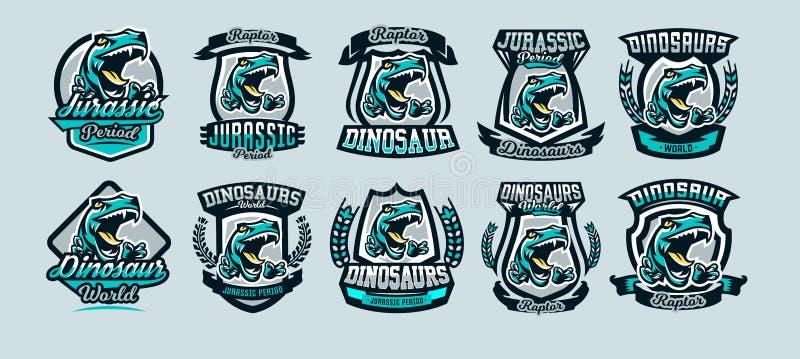 Uppsättning en samling av färgrika emblem, logoer, farlig rovfågel som är klar att anfalla, de skarpa jordluckrarna av en rovdjur stock illustrationer
