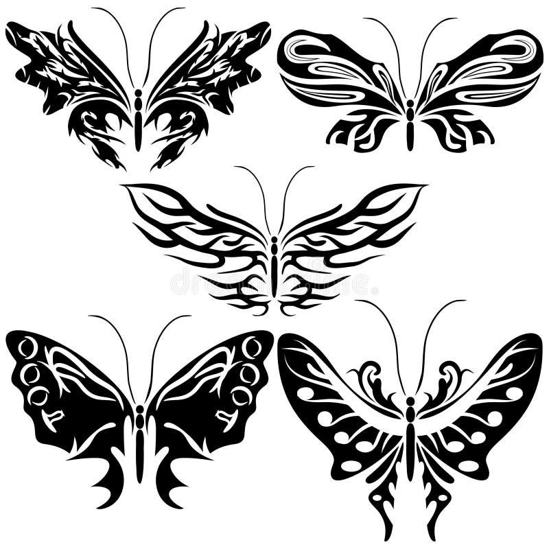 Uppsättning exotisk fjäril vektor illustrationer