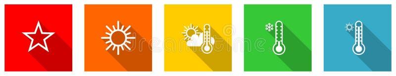 Uppsättning färgstarka webb-plana vektorikoner, sol, stjärna, väder, prognos och temperaturknappar i steg 10 för webbdesign och stock illustrationer