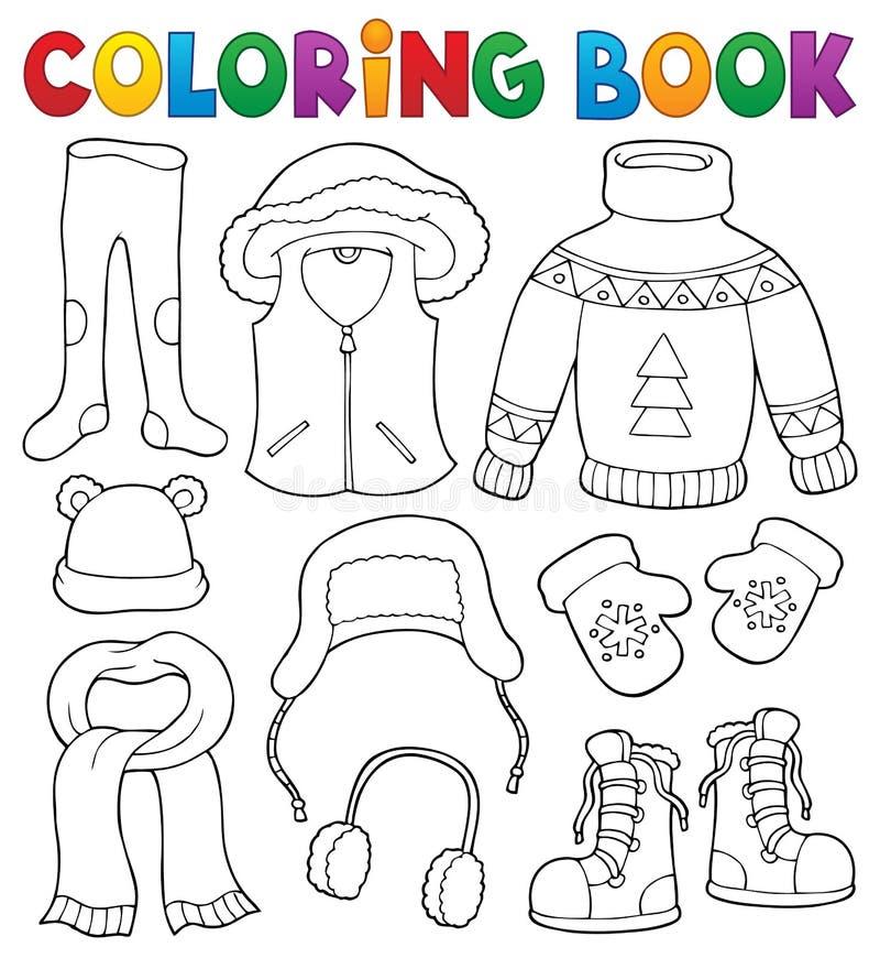Uppsättning 2 för ämne för kläder för vinter för färgläggningbok royaltyfri illustrationer