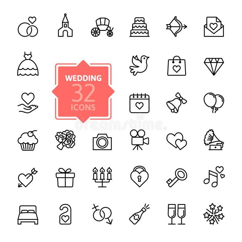 Uppsättning för översiktsrengöringsduksymbol - bröllop royaltyfri illustrationer