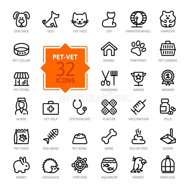 Uppsättning för översiktsrengöringsduksymbol - husdjuret, veterinären som är älsklings- shoppar, typer av husdjur stock illustrationer