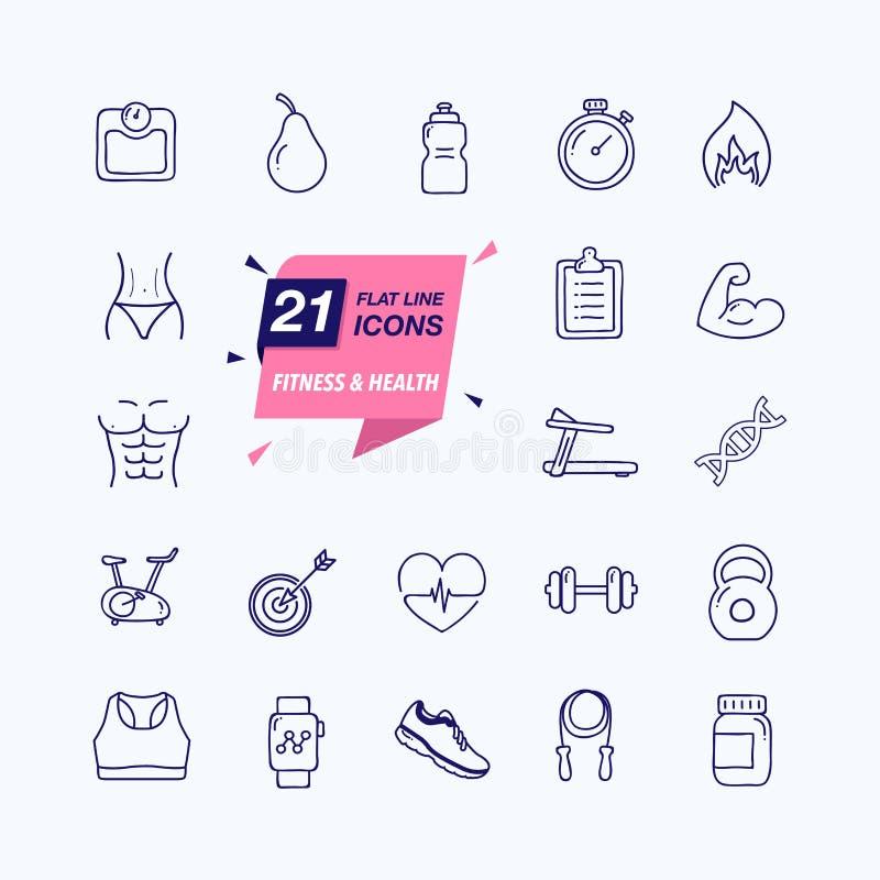 Uppsättning för översiktsrengöringsduksymbol - kondition och hälsa 21 olika beståndsdelar stock illustrationer