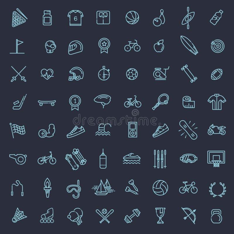 Uppsättning för översiktsrengöringsduksymbol - sport och kondition stock illustrationer