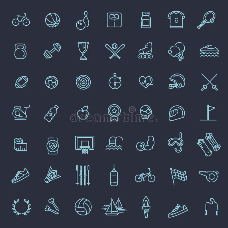 Uppsättning för översiktsrengöringsduksymbol - sport och kondition royaltyfri illustrationer
