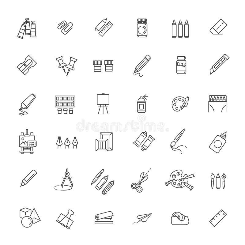 Uppsättning för översiktsrengöringsduksymbol - teckningshjälpmedel stock illustrationer