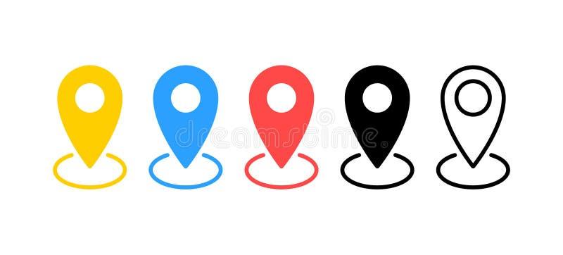 Uppsättning för översiktsstiftsymboler Lägetecken Navigeringöversikt, gps-begrepp också vektor för coreldrawillustration royaltyfri illustrationer