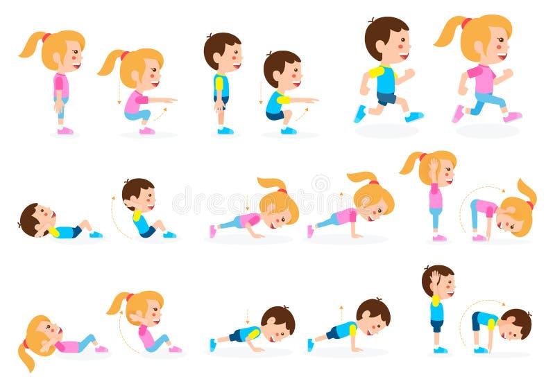 Uppsättning för övning för flicka- och pojkebarnkondition vektor illustrationer
