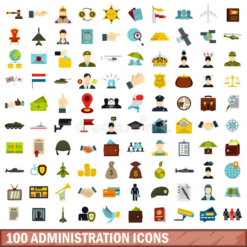 uppsättning för 100 administrationssymboler, lägenhetstil stock illustrationer