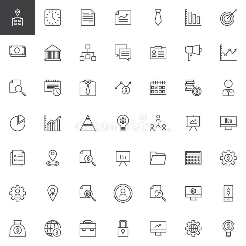 Uppsättning för affärsöversiktssymboler stock illustrationer