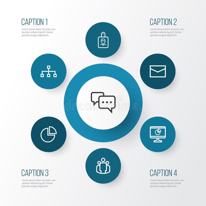Uppsättning för affärsöversiktssymboler Samling av lag, post, struktur och andra beståndsdelar Inkluderar också symboler liksom c vektor illustrationer