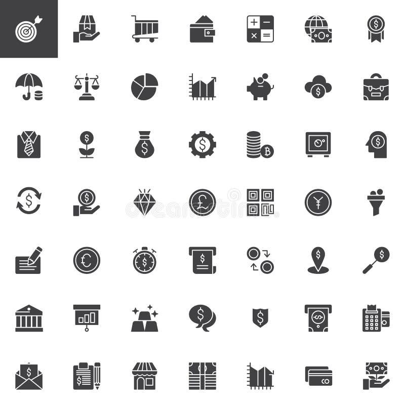 Uppsättning för affärs- och finansvektorsymboler royaltyfri illustrationer